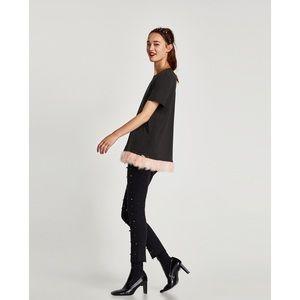 Zara | Feather Trim T Shirt